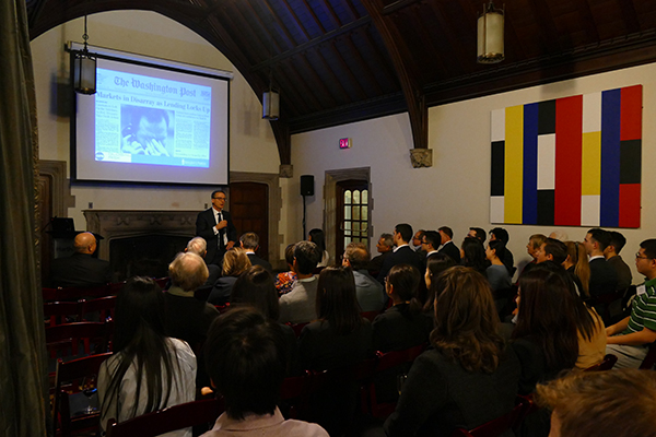 Professor Tiff Macklem presents the 2018 Berkowitz Lecture at the Music Room, Hart House, University of Toronto